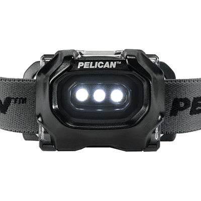 A front view of the black version of the Pelican 2745 explosion proof headlamps, with three LEDs on high power