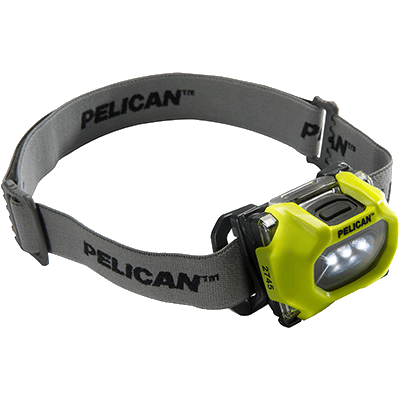The Pelican 2745 explosion proof headlamps - yellow - with cloth headstrap