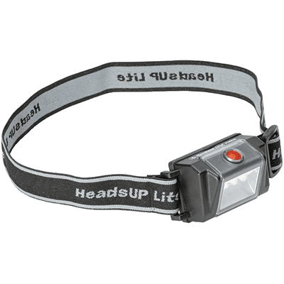 The Pelican intrinsically safe LED headlamp fitted with the cloth headband
