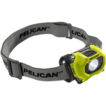 The yellow version of the Pelican 2755 intrinsically safe headlamp, fitted with a cloth head strap