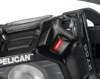 An image showing the position of the low battery level indicator of the Pelican 2755 intrinsically safe headlamp