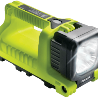 Angled front view of the Pelican rechargeable led worklight