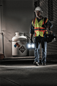 the 9455 explosion proof work light in use in a hazardous gas environment