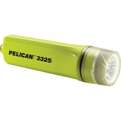 A side view of the Pelican 3325 yellow hazardous environment torch